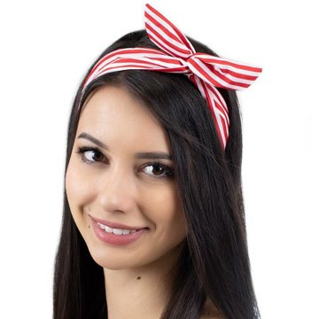 Opaska vintage pin up red stripes