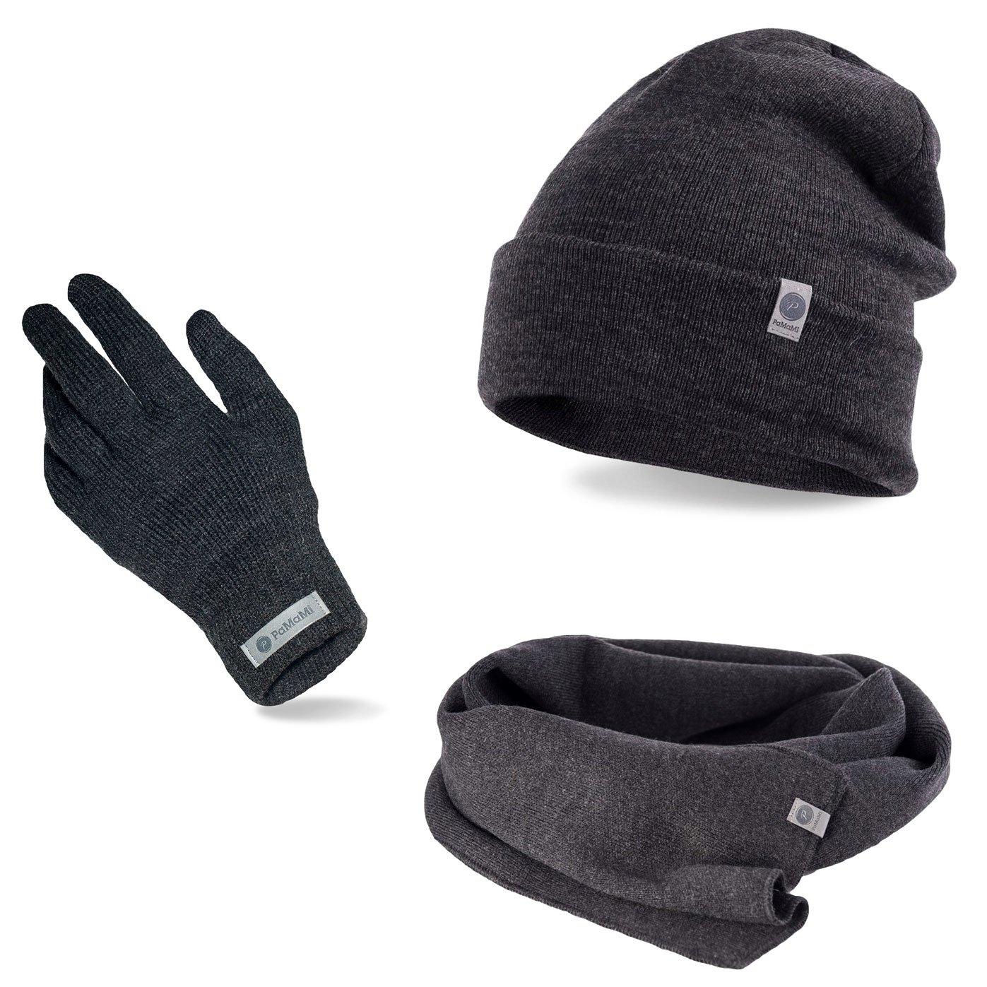 Komplet męski czapka szalik rękawiczki ciemnoszary | Sklep z