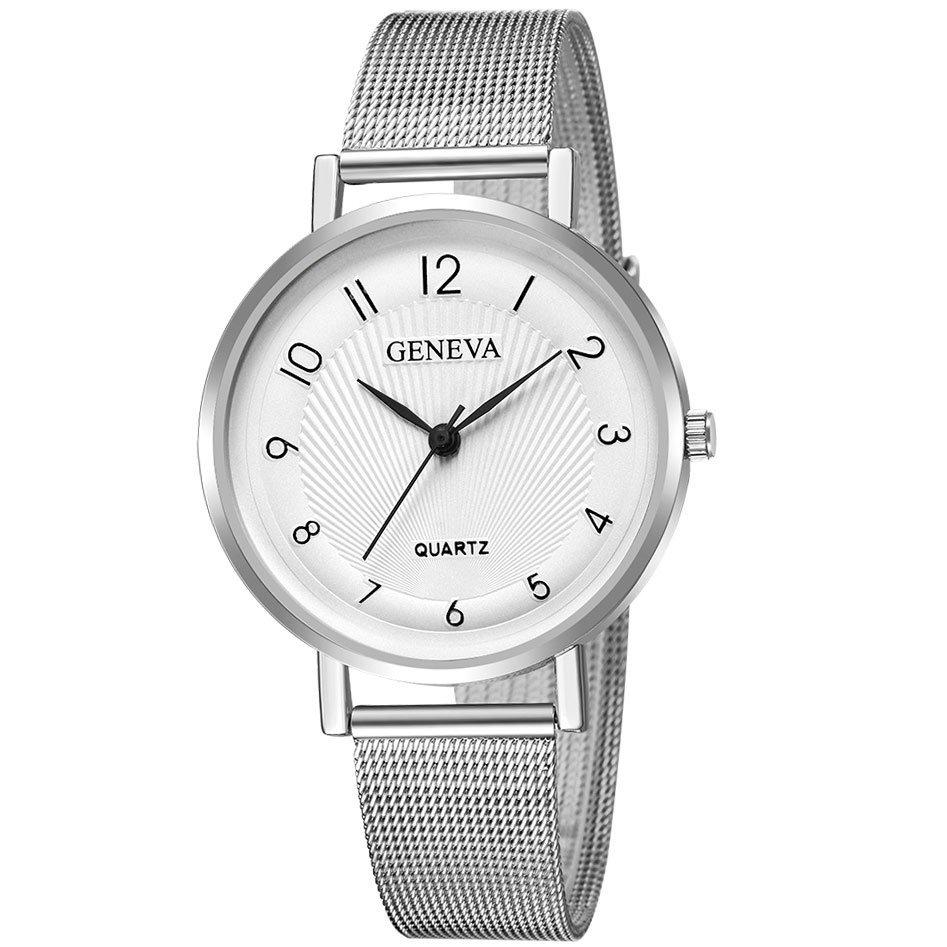 Zegarek damski MESH GENEVA CYRKONIE. srebrny biały | Sklep z