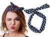 Opaska vintage pin up navy dot